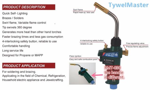 Braze Welding Torch MAPP Propane Gas Torch Self Ignition w Trigger Style CGA600 Heating Solder Burner
