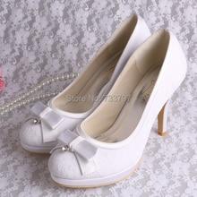 Wedopus MW003B Кружевные Туфли с Шипами Белый Свадебная Обувь Женщины Насосы 2016 Мода Flatform