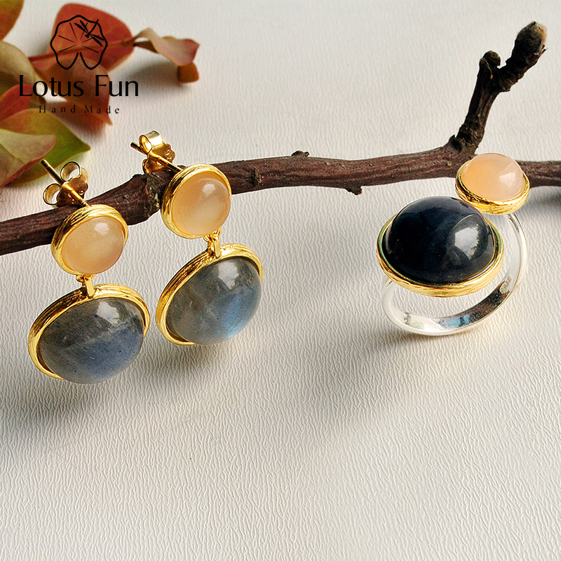 Lotus Fun Real 925 Sterling Silver Natural Labradorite Handmade Fine Jewelry Mysterious Lake Jewelry Set for Women Brincos цена