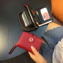 купить Womens Wallets and Purses Genuine Leather Short Solid Appliques Zipper Hasp Card Holder Purses Luxury Brand Monederos Para Mujer дешево