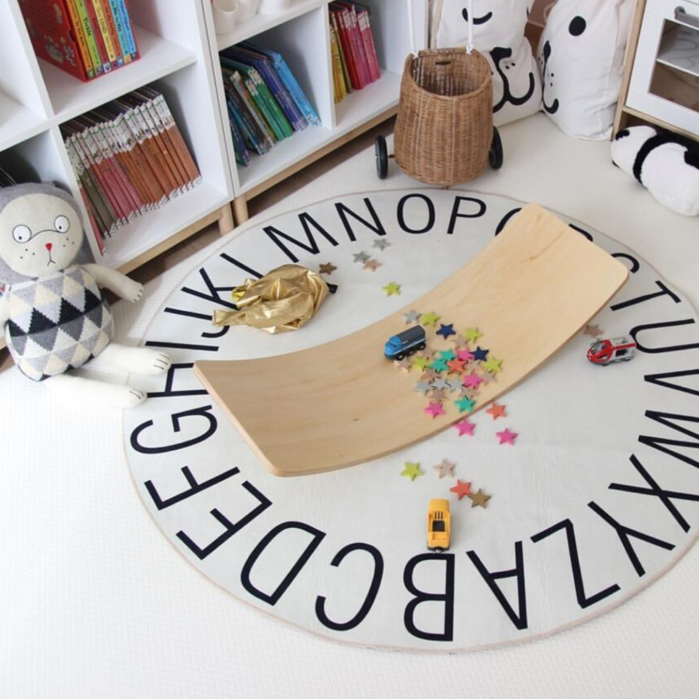 INS Thin Nordic Style Baby Room Decor Activity Carpet 26 ABC Letter Circle Rug Kids Child Play Mat Baby Playmat Activity Gym