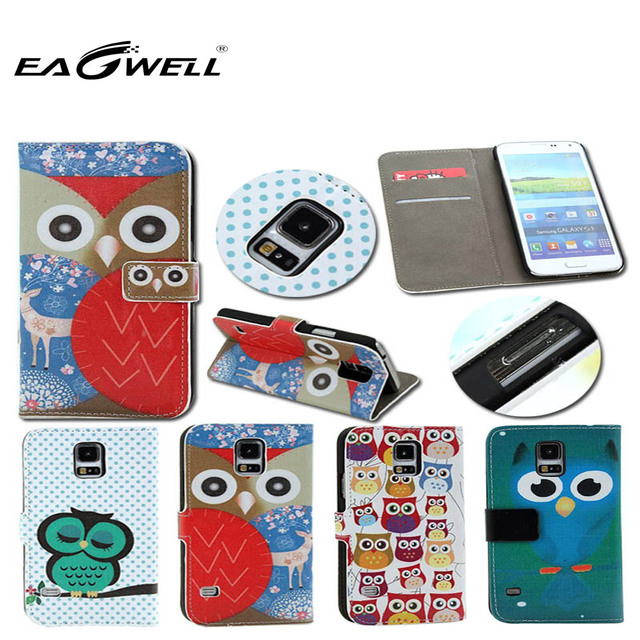 Leather phone Case For Samsung Galaxy S5 SM-G900 SM-G900T GT-I9600 High quality Flowers cartoon owl design Magnetic Holster Flip