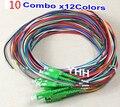 10 combo x12Colors SC/APC2.0mm-PVC-G657A-1m Pigtail De Fibra Óptica Envío Gratis