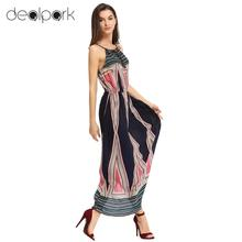 Women Cami Dress Geometric Pattern Print Color Block Self Tie Neckline Sleeveless Maxi Casual One-Piece Dark Blue Party Dresses