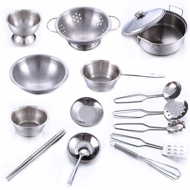 16Pcs Stainless Steel Kids House Kitchen Toy Cooking Cookware Children Pretend Play Kitchen Playset - Silver Toys For Children