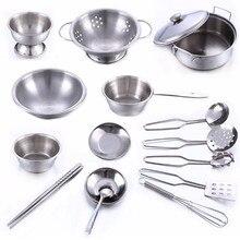 16 unids niños casa de juguete de la cocina de cocina de acero inoxidable utensilios de cocina de niños pretend play kitchen playset-plata toys para niños