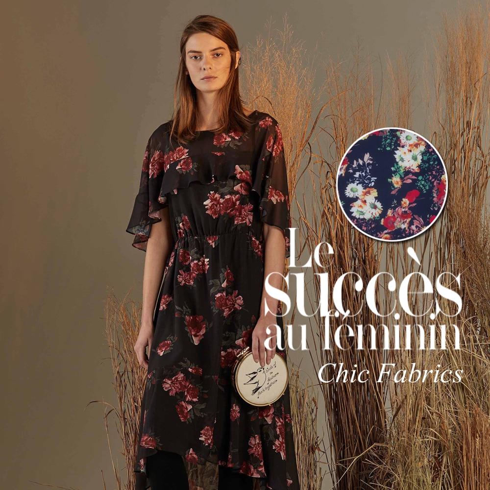 Cheap dress to order - Australia Order Your Brand Designer High Street Girl Flowers Brilliant Printed Chiffon Fabrics Microlens China