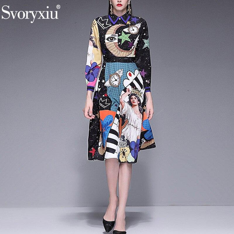 Svoryxiu 滑走路の高級クリスタルダイヤモンドの女性のエレガントな長袖星空天使プリントファッションパーティードレス  グループ上の レディース衣服 からの ドレス の中 1
