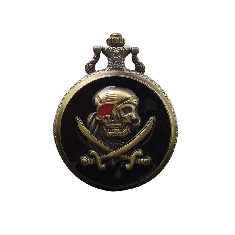 Vintage Bronze Pirate Skull Caribbean Steampunk Quartz Pocket Watch Necklace Pendant Hour Clock With Chain Men Women Gifts
