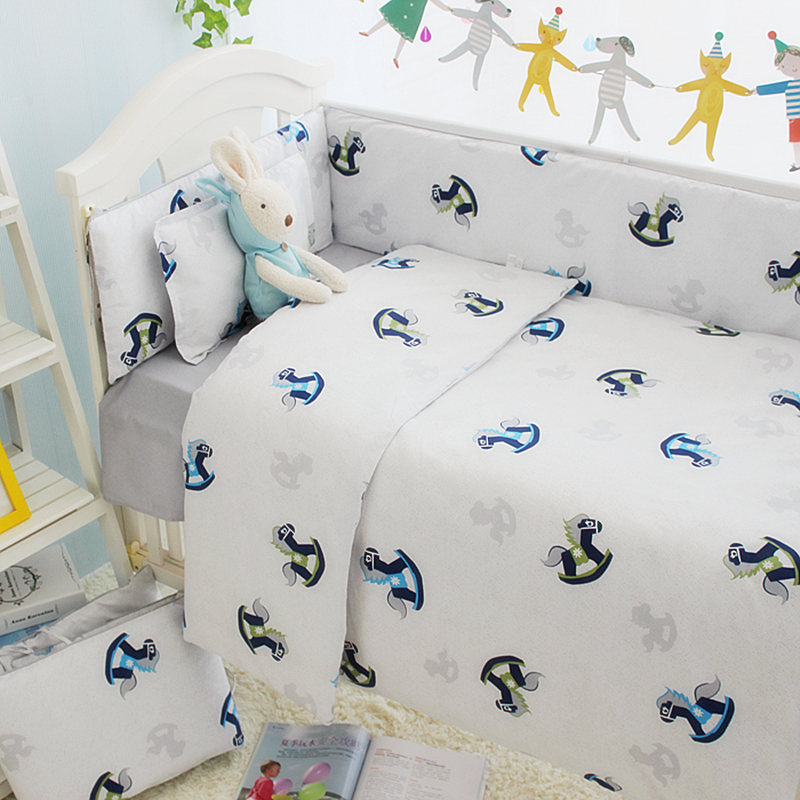 Cartoon Pattern Baby Crib Bedding Set Kids Bedding Set 100% Cotton Newborn Cot Set Crib Bumper For Baby Nursery Various Size