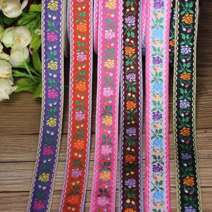 Bloemen Borduren Etnische Jacquard Singels Geweven Tape Kant Lint 2.3 Cm Kledingstuk Accessoires Decoratie Boho Gypsy Diy India Craft