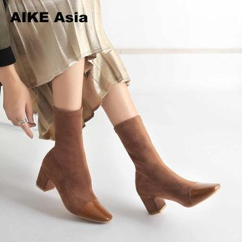 2019 Stretch Knit Women Sock Boots Fashion Striped High Heel Mid-Calf Winter Shoes Fabric Botas Feminina Ankle Sequined Cloth K6 Обувь