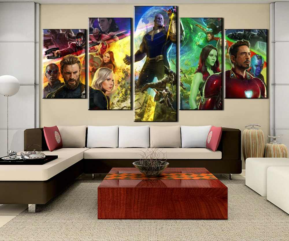Canvas Printed Painting 5 Pieces Avengers Infinity War Movie Modular Pictures Home Decor Artwork One Set Wall Art Poster