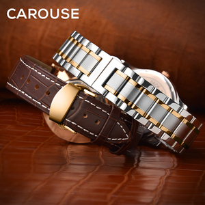 Image 1 - Carouse Calf Leather Watch Band Strap 12 13 14 15 16 17 18 19 20 21 22 23 24mm Stainless Steel Metal Watchband Combined sales