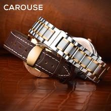 Ремешок Carouse из телячьей кожи для часов, металлический Комбинированный браслет из нержавеющей стали, 12 13 14 15 16 17 18 19 20 21 22 23 24 мм