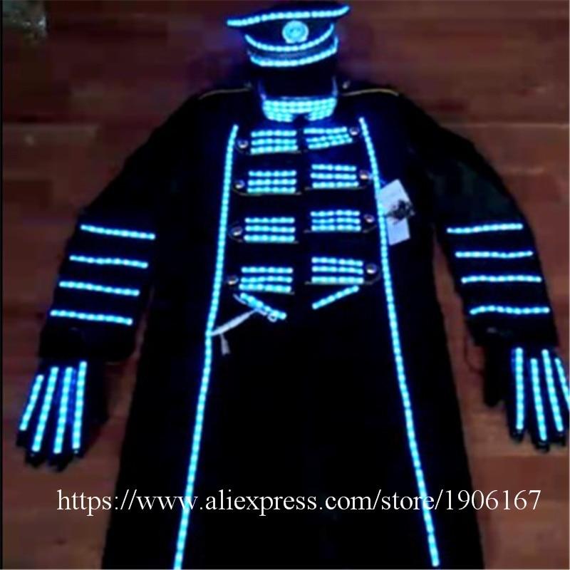 Blue Color Led Luminous Men Suit With Hat Led Gloves Led Light Up Stage Performance DJ Singer Dancer Clothes Host Suit