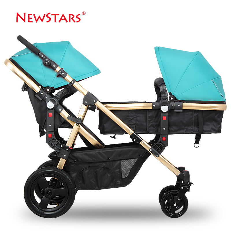 Ne for wst ars twins baby stroller baby stroller double black sleeping basket