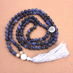 8MM Natural Sodalite soft cotton Tassel Necklace yoga Women necklace 108 Beads Mala Necklace Dropshipping Meditation jewelry