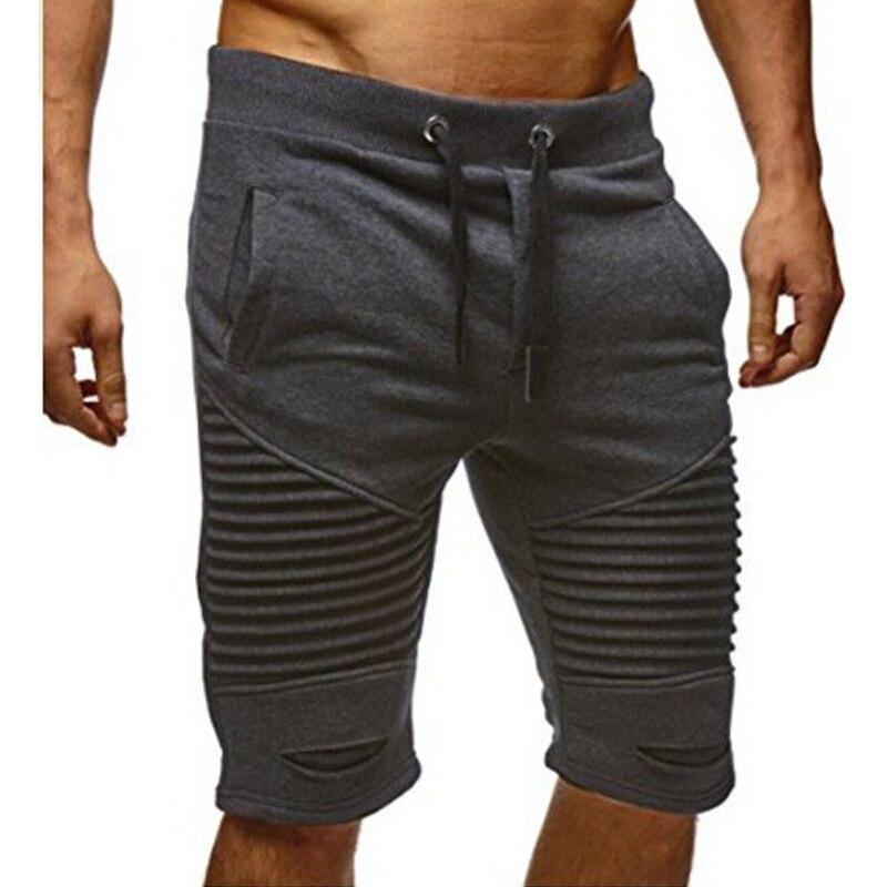 Summer Casual Solid Men's Shorts Fashion Pleated Hole Elastic Waist Drawstring Knee Length Bodybuilding Beaching Male Shorts