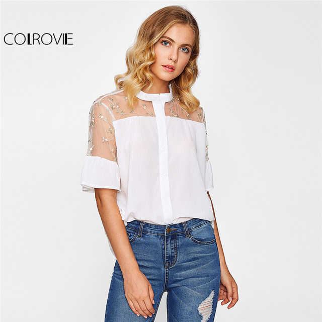 COLROVIE Floral Mesh Yoke Shirt White Embroidery Sheer Blouse 2017 ...
