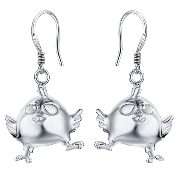 bird Wholesale 925 silver heart earrings hook women silver jewelry dangle earring  gift CAE029