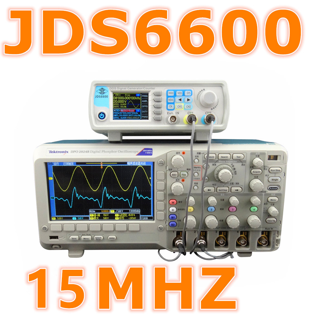 JDS6600 Series 15MHZ Digital Control Dual-channel DDS Function Signal Generator frequency meter Arbitrary sine Waveform 37%off jds6600 dual channel function arbitrary waveform signal generator 8m 25m 40m pulse signal source frequency meter