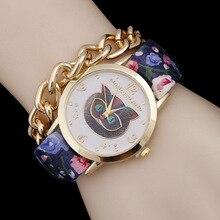New Fashion 2016 Women Dress Watches Punk Printed bracelet watches Ladies Casual Analog Quartz Watch Wristwatches Drop shipping  цены