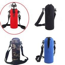 Неопреновый чехол для бутылки с водой 750 мл, изолированный чехол, Сумка с держателем, сумка для путешествий, сумка с плечевым ремнем, держатель для кемпинга, езды на велосипеде