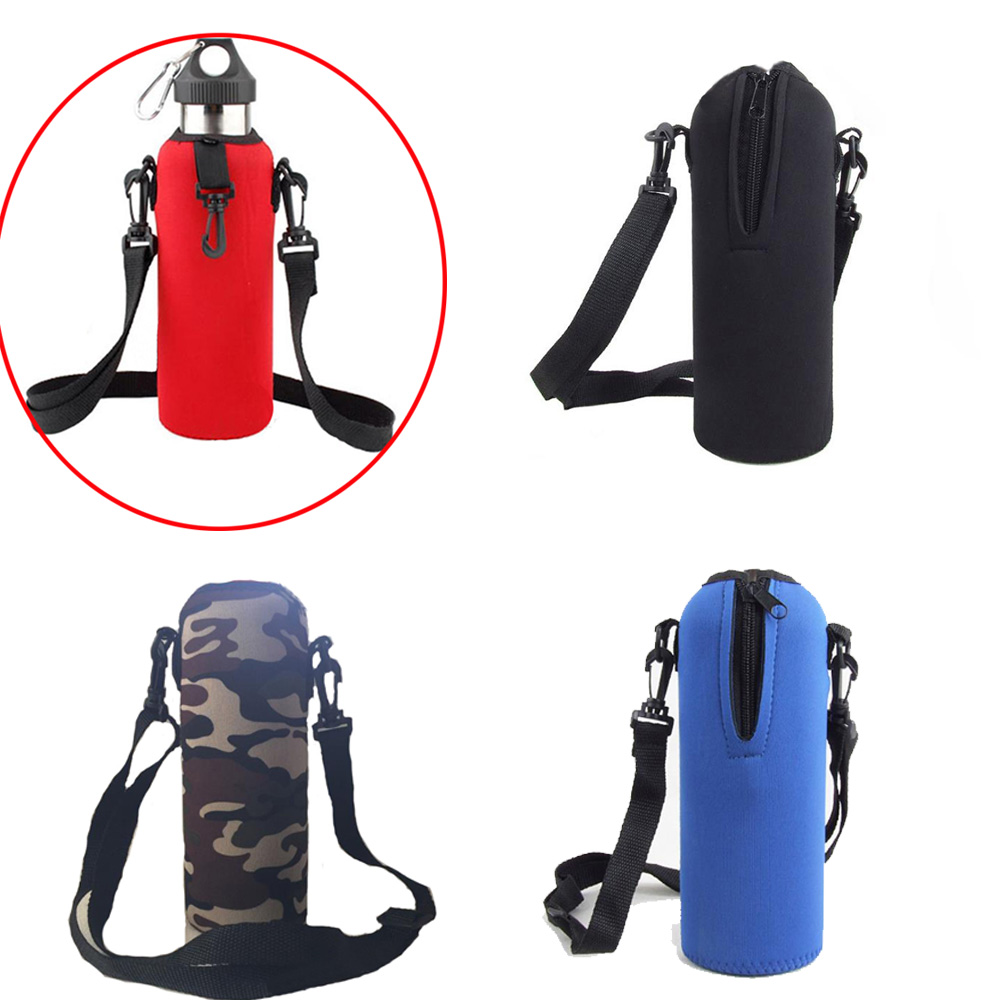 Neoprene 750ml Water Bottle Carrier Insulated Cover Bag Holder Strap Travel Pouch Shoulder Strap Holder For Camping Cycling