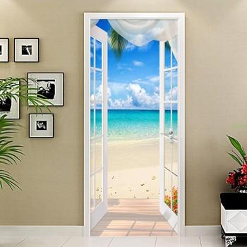 PVC ȇ�己粘着ドアステッカー窓砂浜海景 3D ņ�真の壁紙壁画のリビングルームのドアデコレーションステッカー