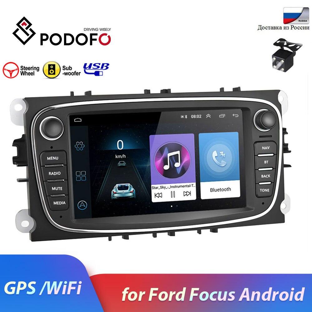 Podofo 2din car radio Android 8 1 GPS navigation Bluetooth WIFI MP5 Mirrorlink Autoradio for Ford