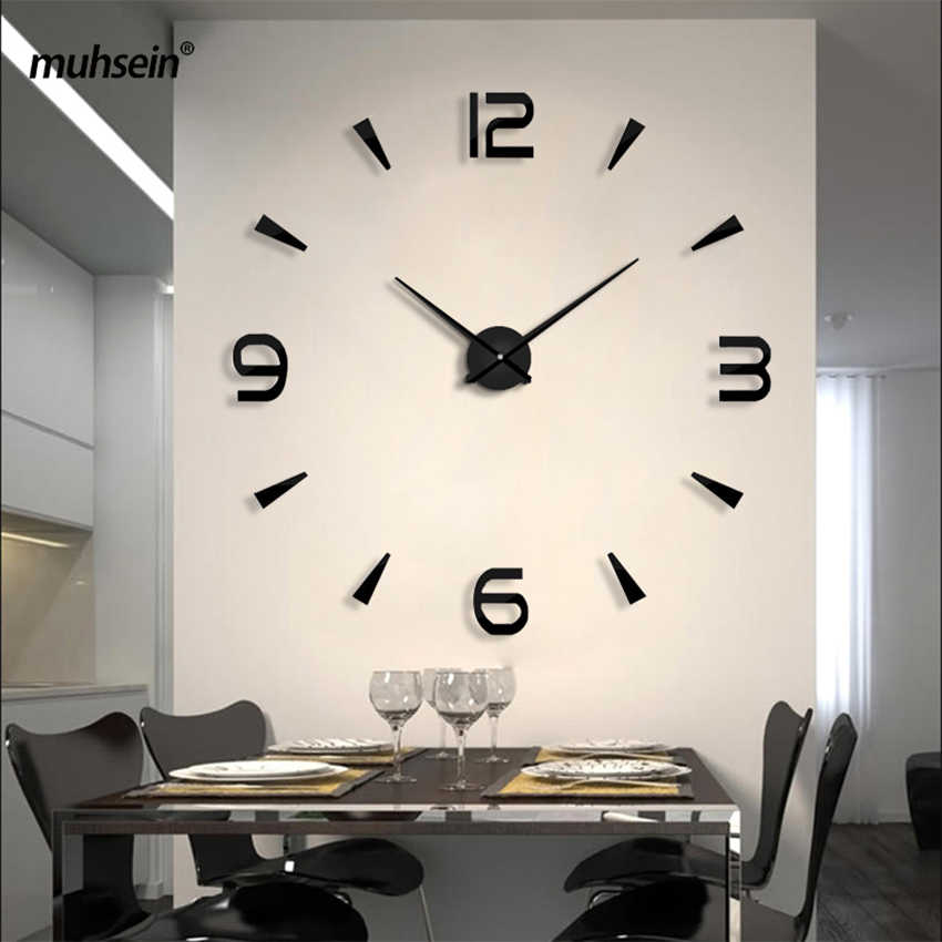 Set sail 2019 New Wall Clock Acrylic Metal Mirror Big Personalized decoration Wall Watches 3D large wall Clocks Free shipping