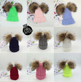2016 winter two real raccoon fur pom pom Hat Knit beanies For Kids Children Winter Hats Skullies For Kids