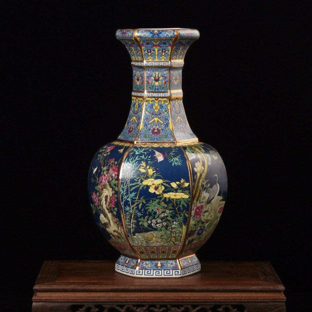 Античная Цзиндэчжэнь эмаль Famille роза коллекция Чистая ручная роспись Золотой фарфор книги по искусству украшения ваза для цветов