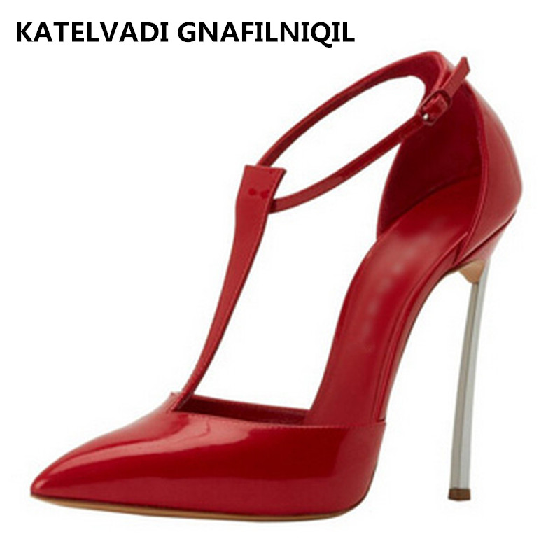 Red Sandals Women High Heels Patent Leather Red Shoes Woman Sandals 10CM Heels Summer Sexy Womens Sandals Pointed Toe FS-0049 new 2017 sexy point toe patent leahter high heels pumps shoes sandals pr1987 woman s red sandals heels shoes wedding shoes