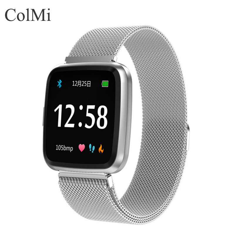 ColMi Silver/Black Steel Band Smartwatch Android	IOS Phone Full Screen Touch Bluetooth Men's SmartWatches Relogio Inteligente
