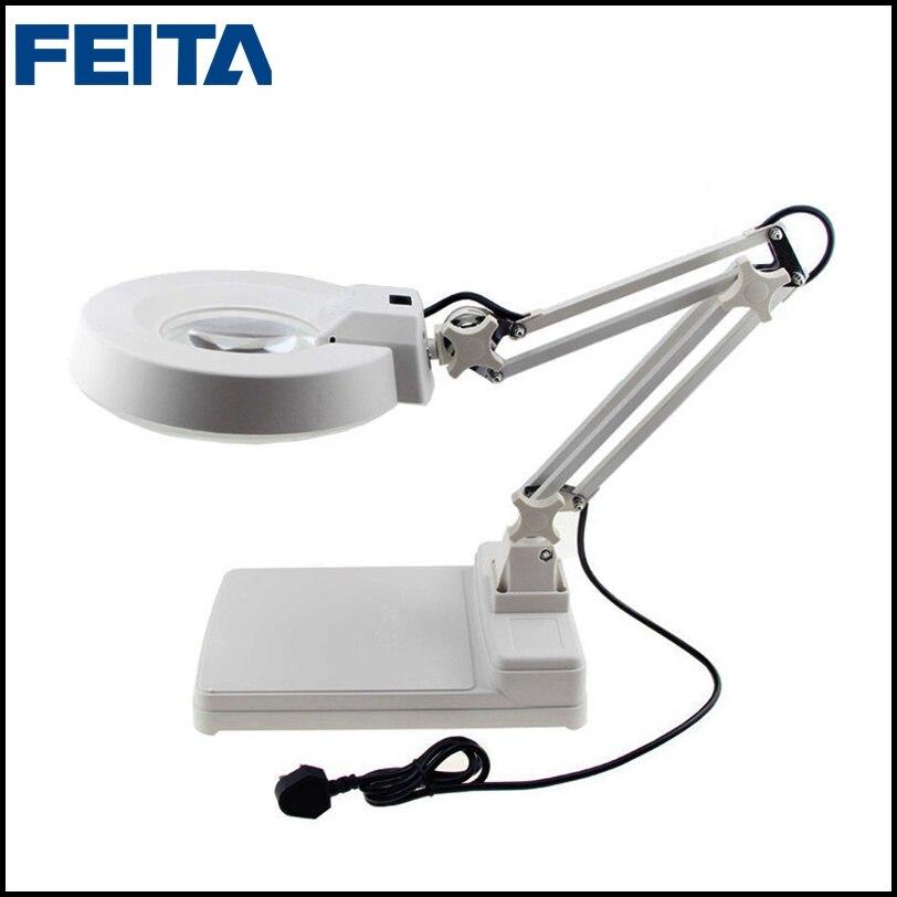 FEITA 220V/110V Desktop Optical Magnifier Glass Lamp Tabletop LED Light Magnifying Reading Work Lights