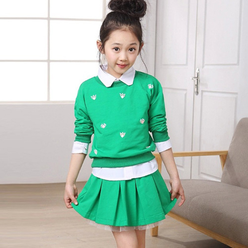 Children 's clothing new spring and autumn 2015 children' s skirt suit children 's three - piece children' s suits цена 2017