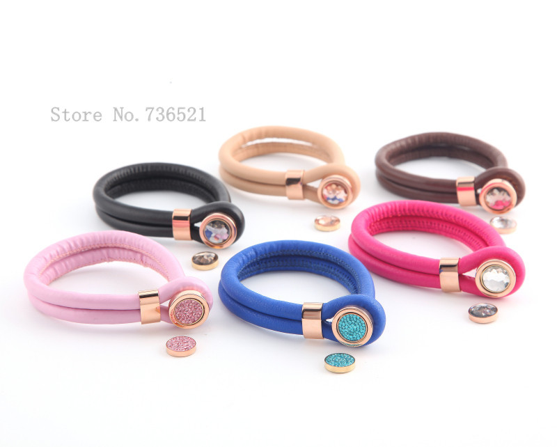 New Endless Leather Bracelets Stainless Steel Rose Gold Setting With Interchangeable Coin Fashion Women Fine Jewelry 6pcs Lot In Charm From