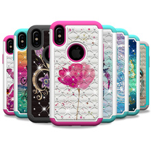 Luxury Fundas Cases For iPhone X 6 7 8 Plus 6sPlus XS XR Max Printed Bling Butterfly Unicorn Flower 2 in 1 PC + Silicone Case