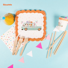 RiscaWin Cartoon Car Disposable Tableware Party Plates Cups Paper Straws Kids Birthday Party Favors Cake Dishes Baby Shower