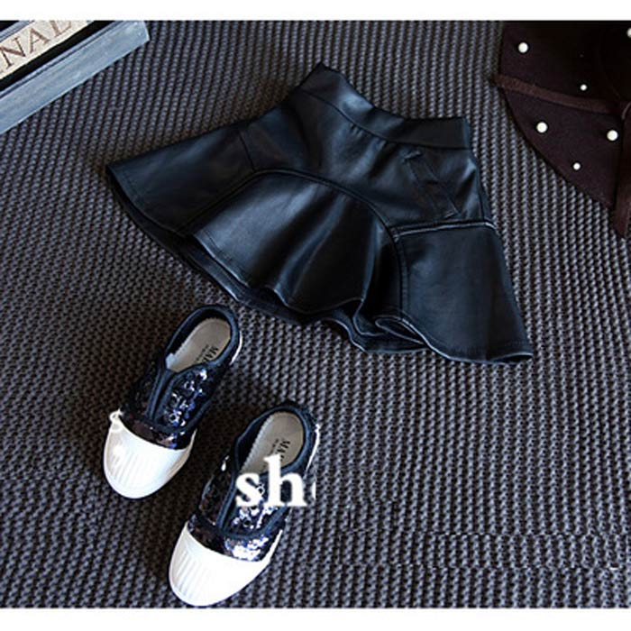 2017 Summer Girl Dress Pu Leather Dress