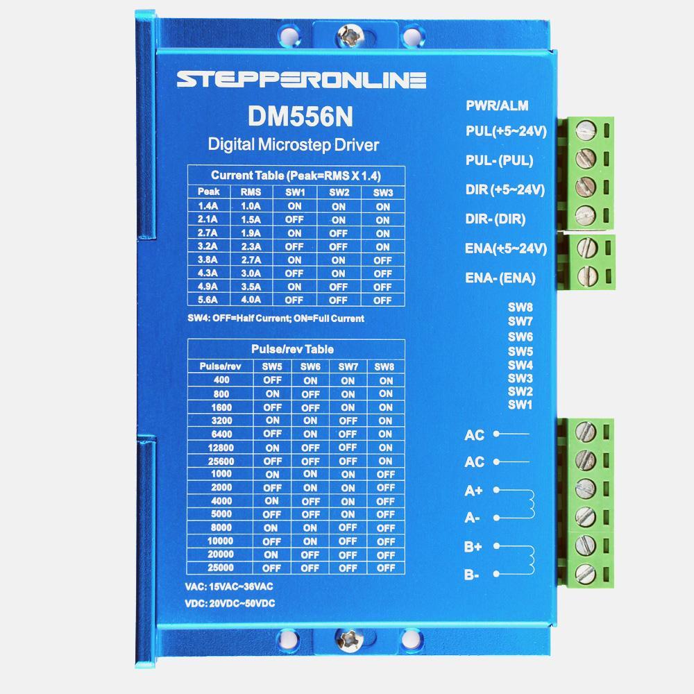 Digital Stepper Driver Low Noise Control Signal Voltage 5-24V Current 1.4-5.6A 15-36VAC/20-50VDC for Nema 17,23,24 Stepper MotorDigital Stepper Driver Low Noise Control Signal Voltage 5-24V Current 1.4-5.6A 15-36VAC/20-50VDC for Nema 17,23,24 Stepper Motor