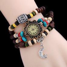 Wooden Beads Bracelet Lady Quartz Watch