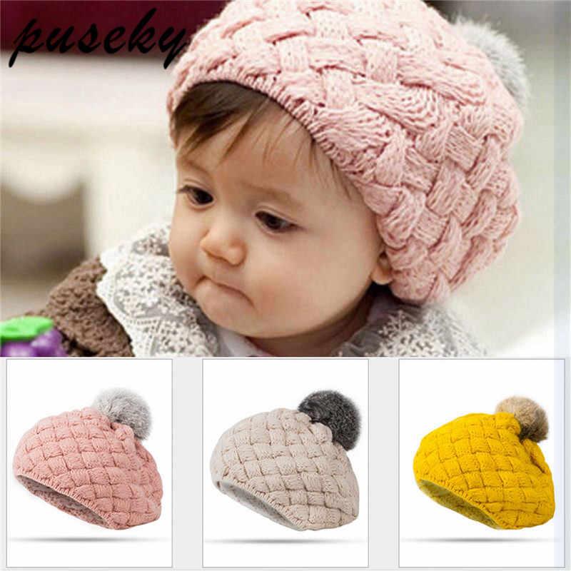 e3df0b934e053 Puseky 2018 Baby Winter Hat Knit Pom Pom Crochet Baby Beret Girl Cap For  Children Cotton