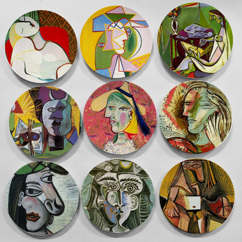 2017 New Picasso Famous Oil Painting Decorative Plate Spanish Abstract Wall Hanging Craft Dish Home/hotel Decor Wholesale 8 inch