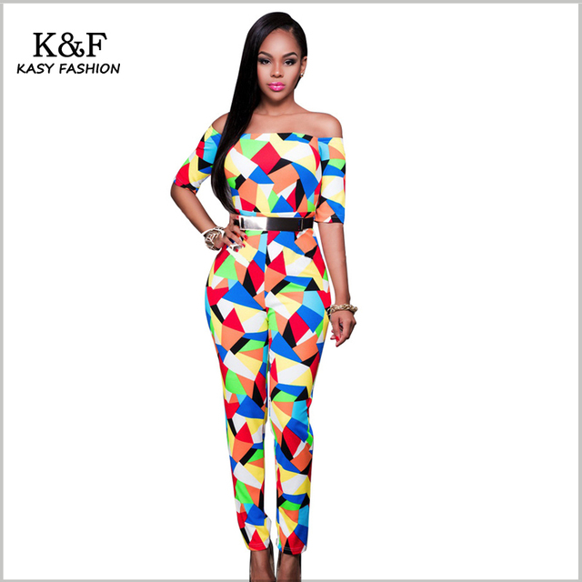e0e9962ff45 Women s Sexy Evening Party Outfits Classy Geometric Print Off Shoulder  Skinny Long Jumpsuit and Rompers Plus