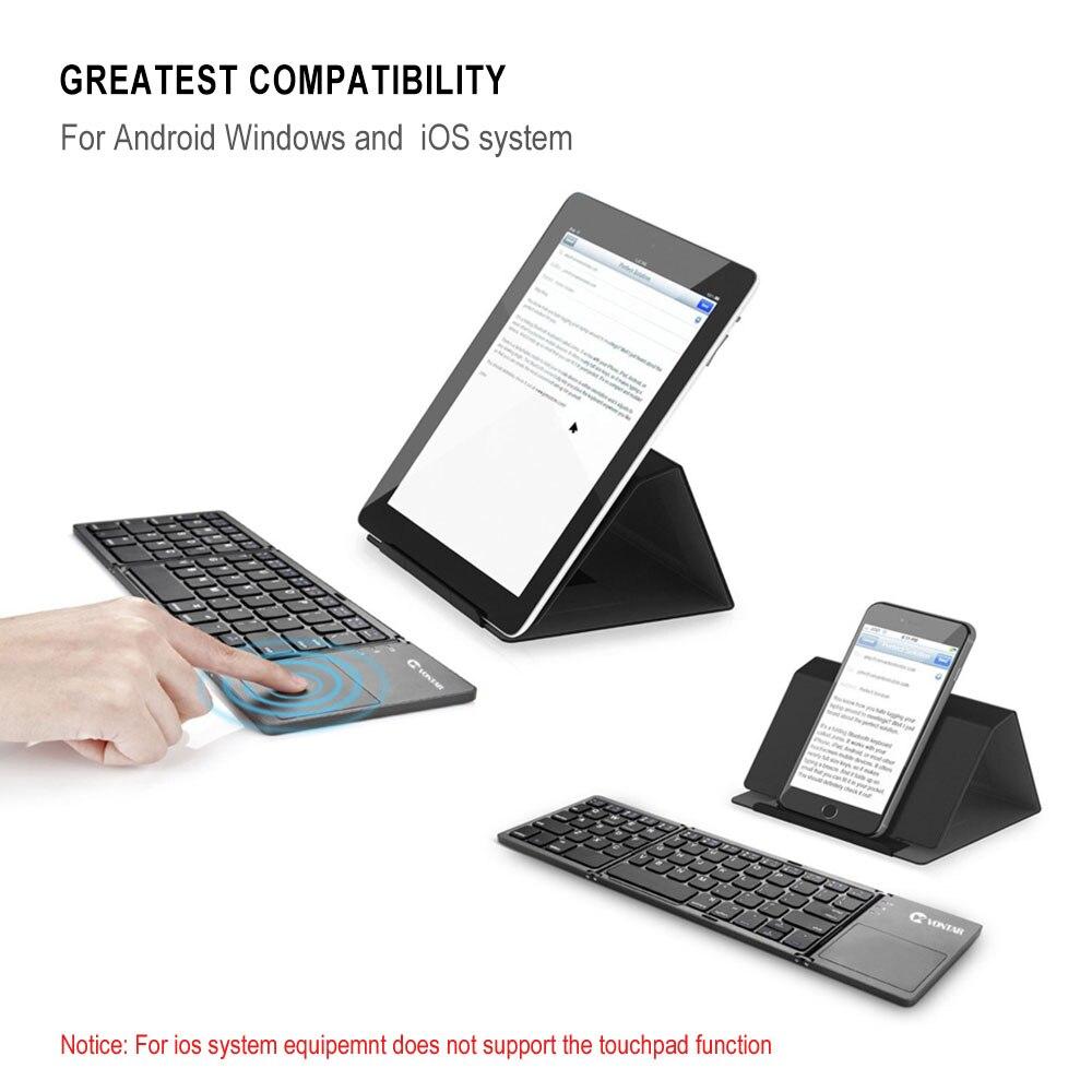 Portátil dobrável teclado bluetooth sem fio recarregável