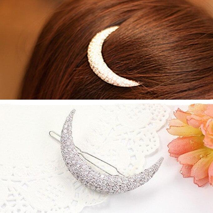 New Cute Hair Accessories Girls Hair Clip Rhinestone Moon Bang Clip Hairpins ...