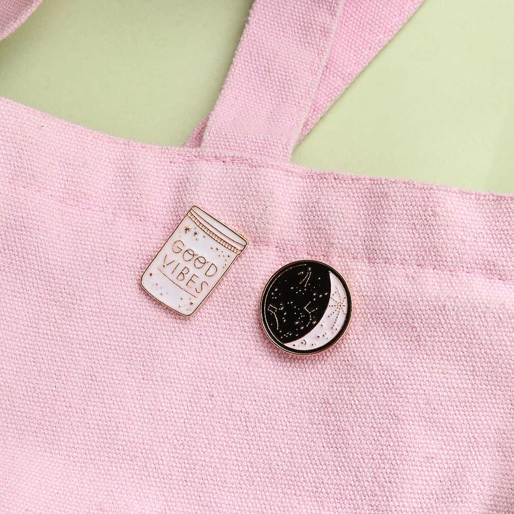 Эмалированные булавки мультфильм белый и черный кнопки Созвездие Луна Хорошие Vibes броши в виде бутылки Пальто Куртка Воротник значок брошь бижутерия